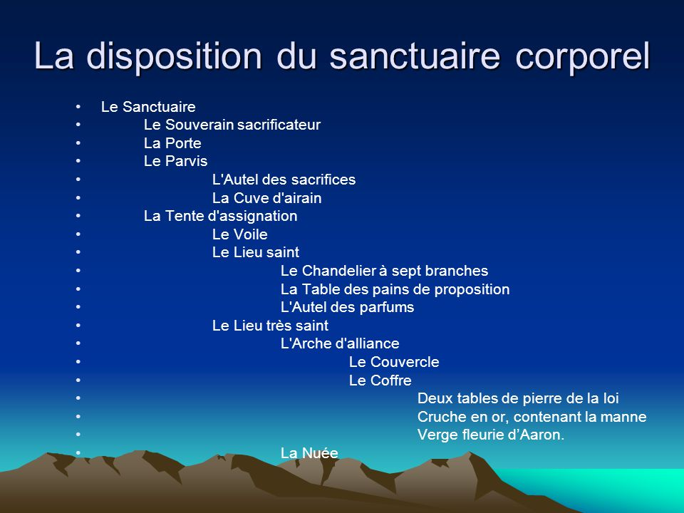 La disposition du sanctuaire corporel