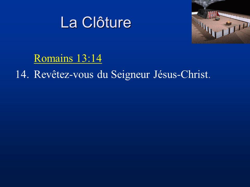 La Clôture Romains 13:14 14. Revêtez-vous du Seigneur Jésus-Christ.
