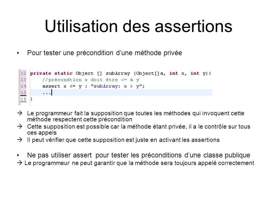 Utilisation des assertions