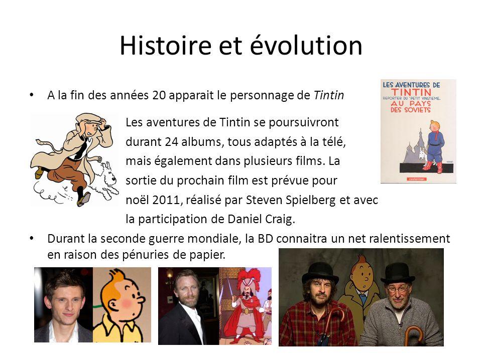 Histoire et évolution A la fin des années 20 apparait le personnage de Tintin. Les aventures de Tintin se poursuivront.