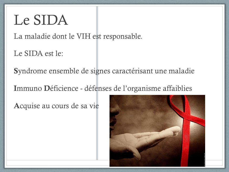 Le SIDA La maladie dont le VIH est responsable. Le SIDA est le:
