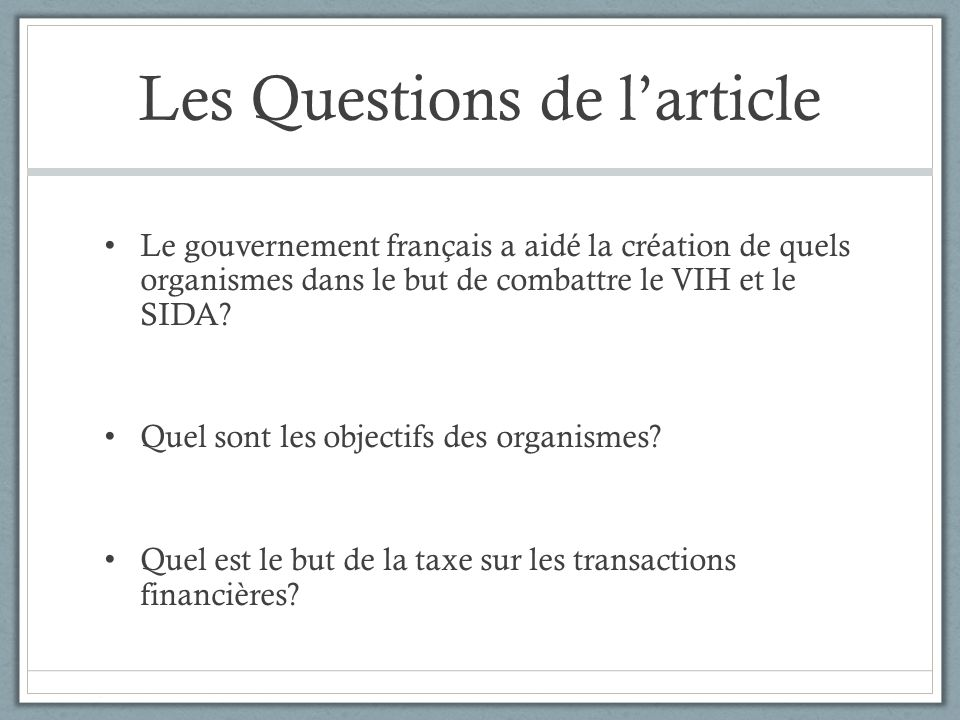 Les Questions de l'article