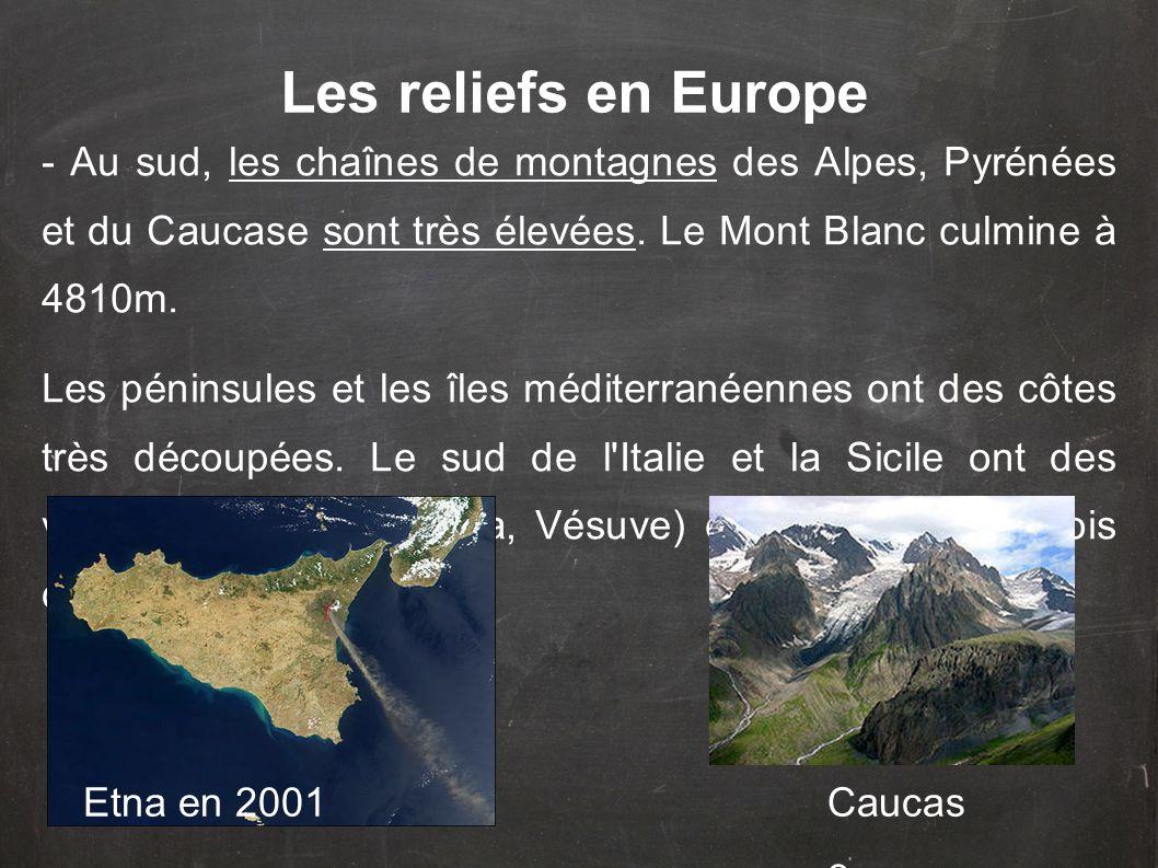 Les reliefs en Europe - Au sud, les chaînes de montagnes des Alpes, Pyrénées et du Caucase sont très élevées. Le Mont Blanc culmine à 4810m.