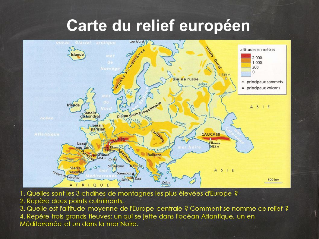 Carte du relief européen