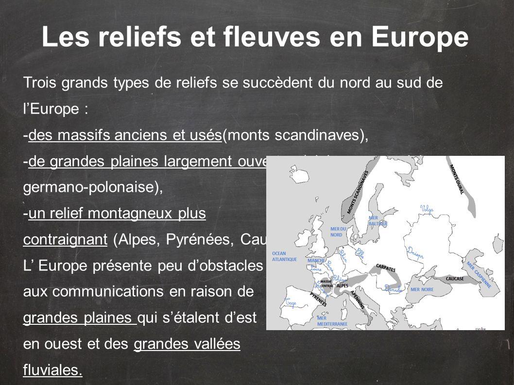 Les reliefs et fleuves en Europe