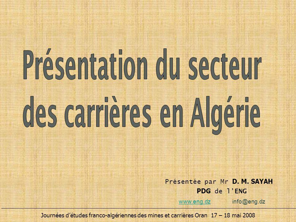 Présentation du secteur des carrières en Algérie