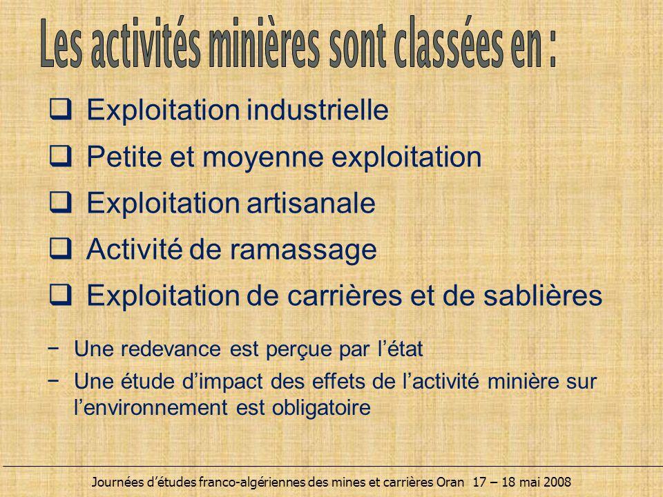 Les activités minières sont classées en :