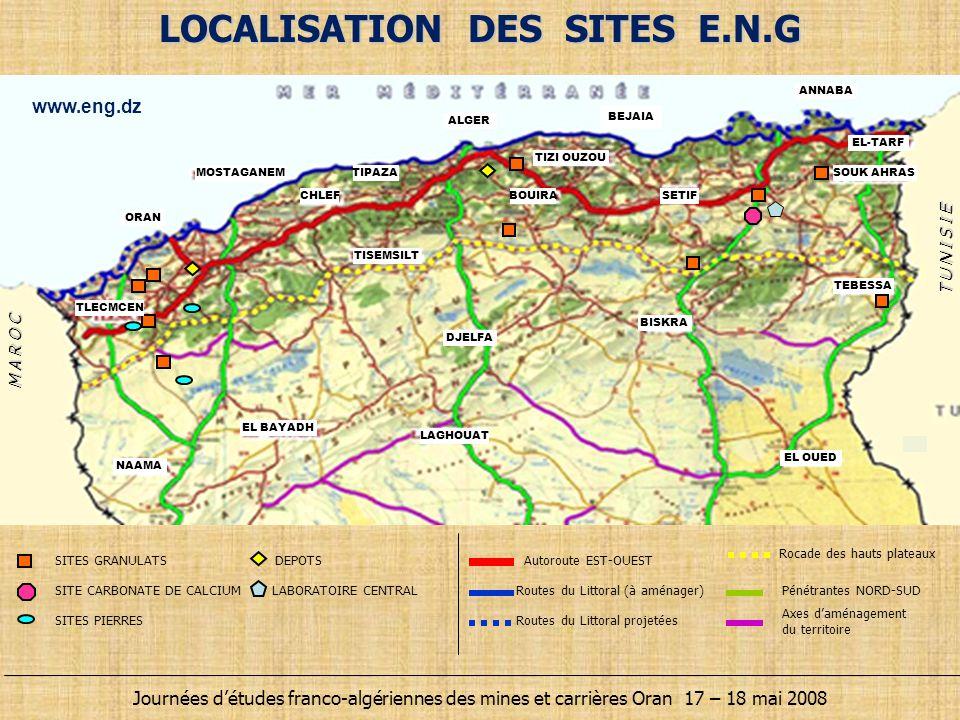 LOCALISATION DES SITES E.N.G