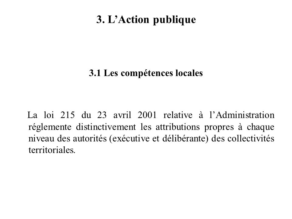 3.1 Les compétences locales