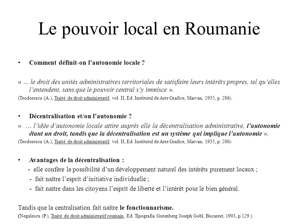 Le pouvoir local en Roumanie