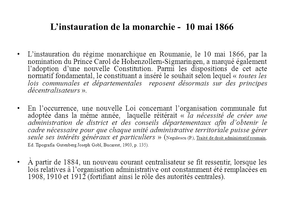 L'instauration de la monarchie - 10 mai 1866