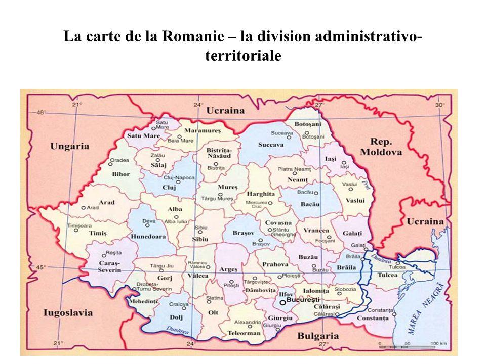 La carte de la Romanie – la division administrativo-territoriale