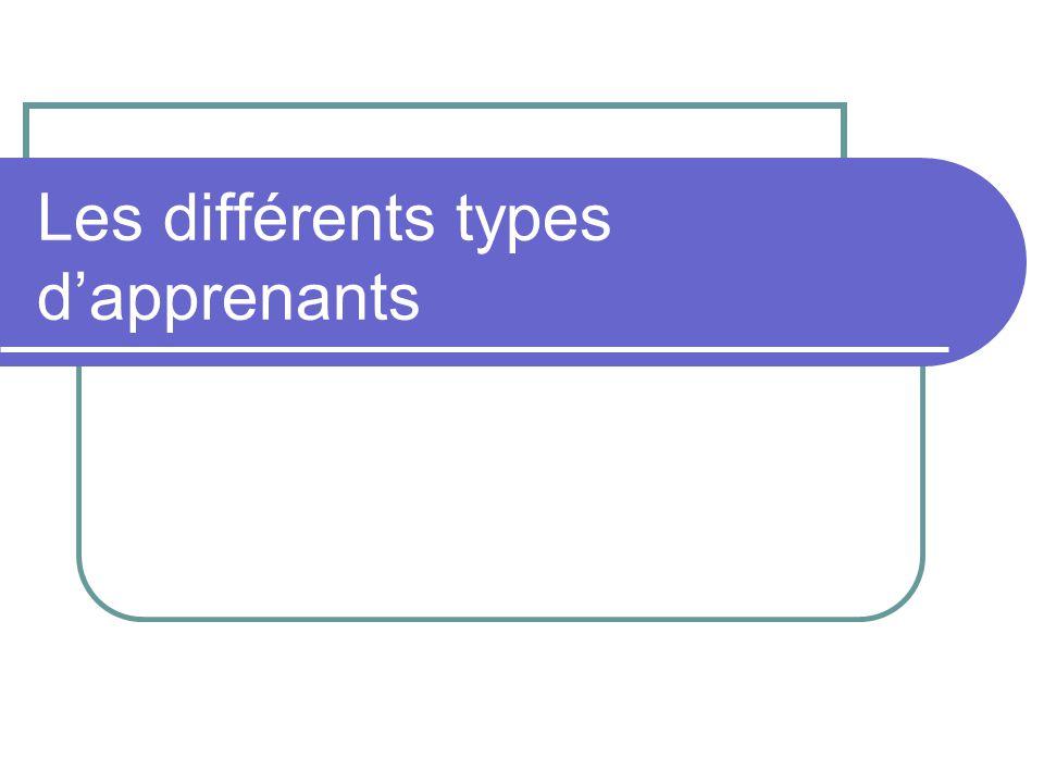Les différents types d'apprenants