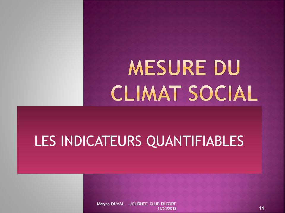 MESURE DU CLIMAT SOCIAL