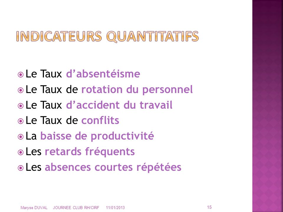 Indicateurs quantitatifs