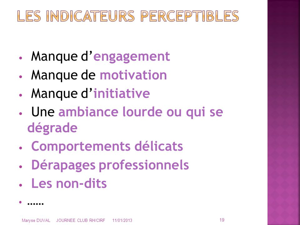 Les Indicateurs Perceptibles