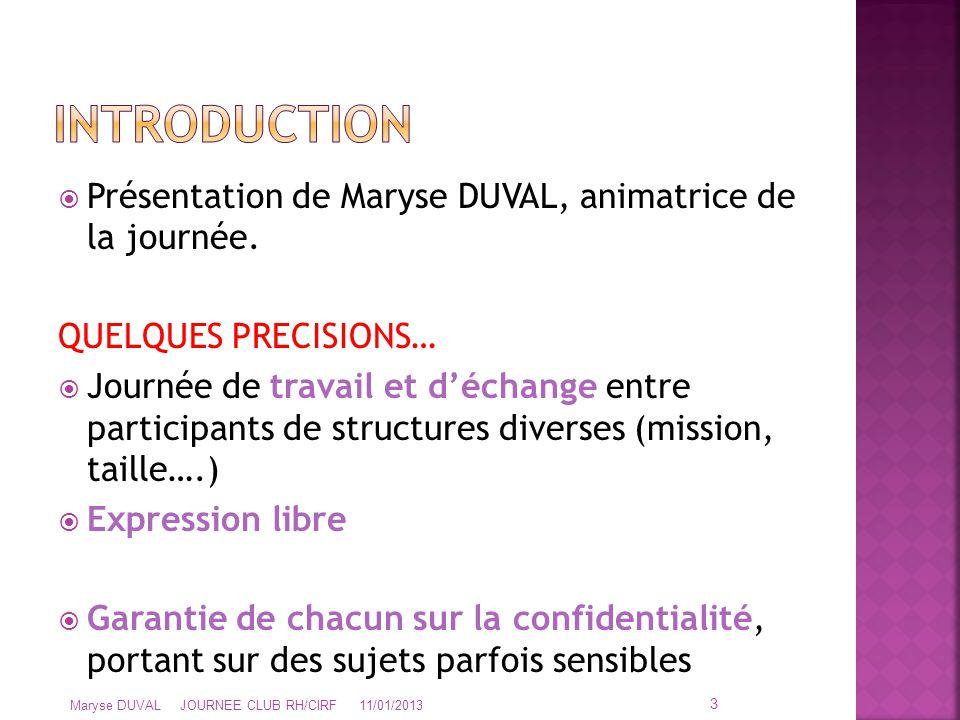 INTRODUCTION Présentation de Maryse DUVAL, animatrice de la journée.