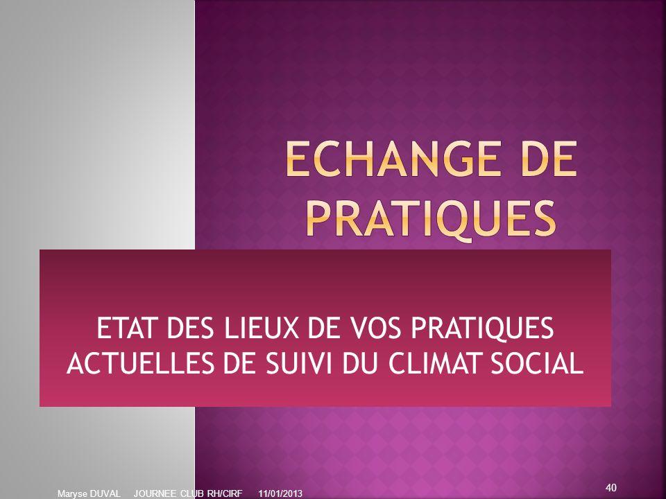 ETAT DES LIEUX DE VOS PRATIQUES ACTUELLES DE SUIVI DU CLIMAT SOCIAL
