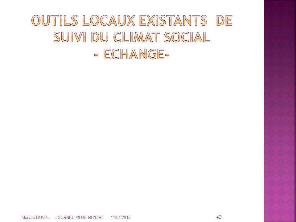 OUTILS LOCAUX EXISTANTS DE SUIVI DU CLIMAT SOCIAL - ECHANGE-