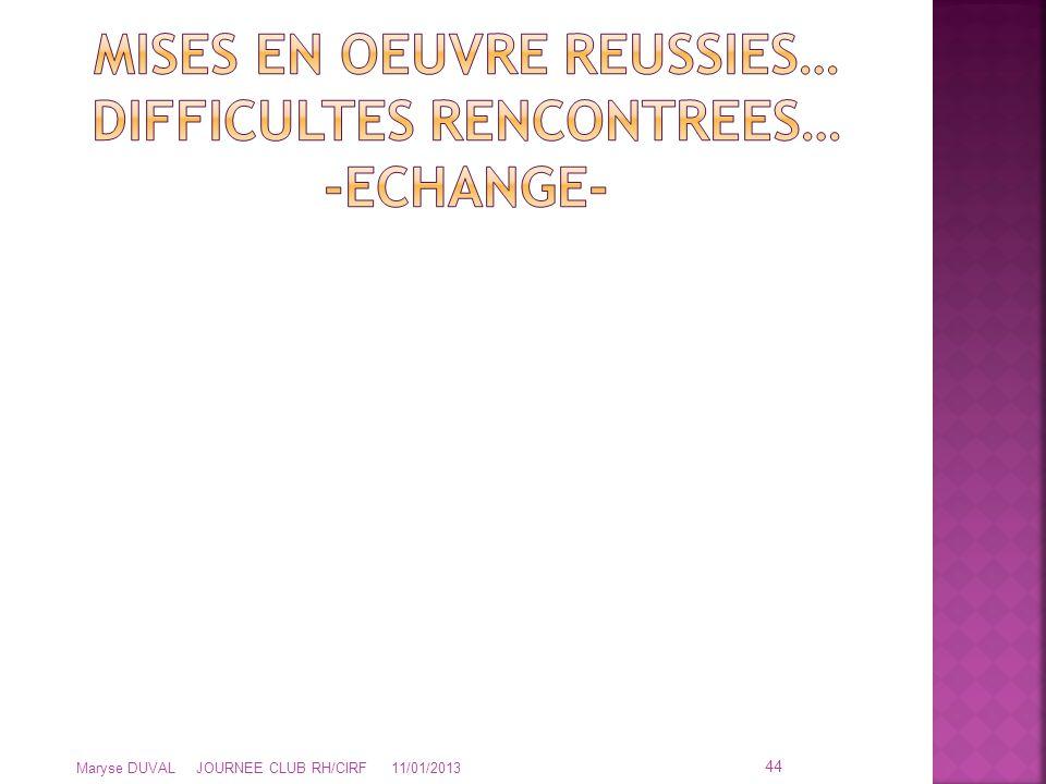 MISES EN OEUVRE REUSSIES… DIFFICULTES RENCONTREES… -ECHANGE-