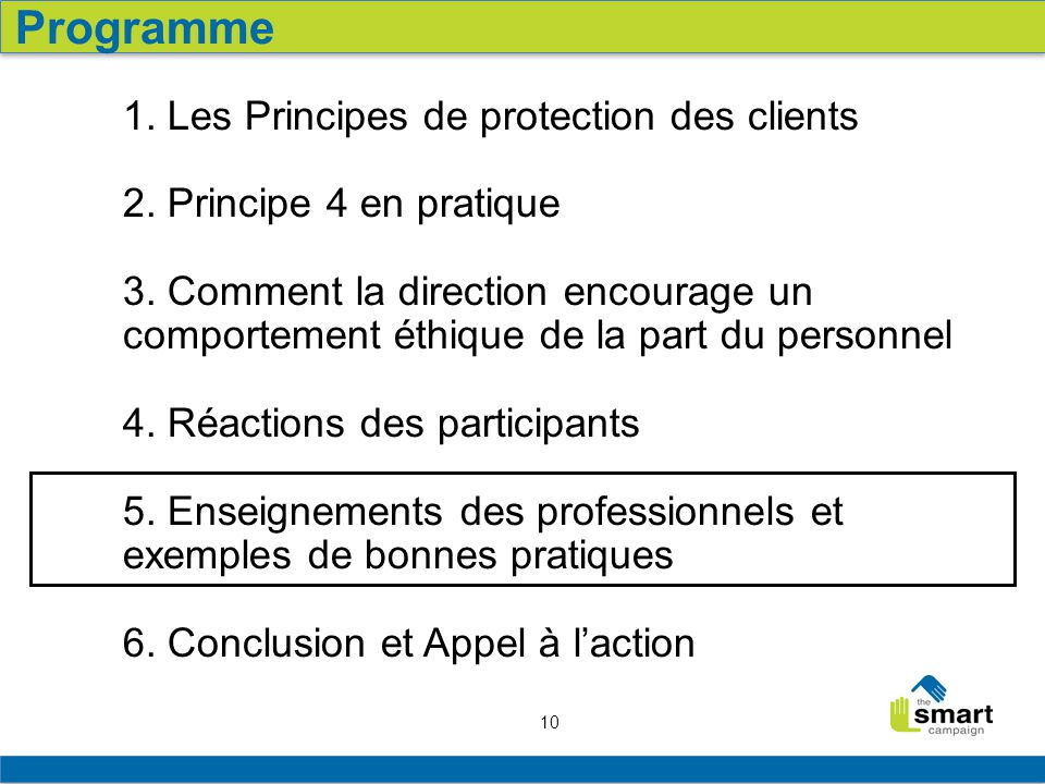Programme 1. Les Principes de protection des clients