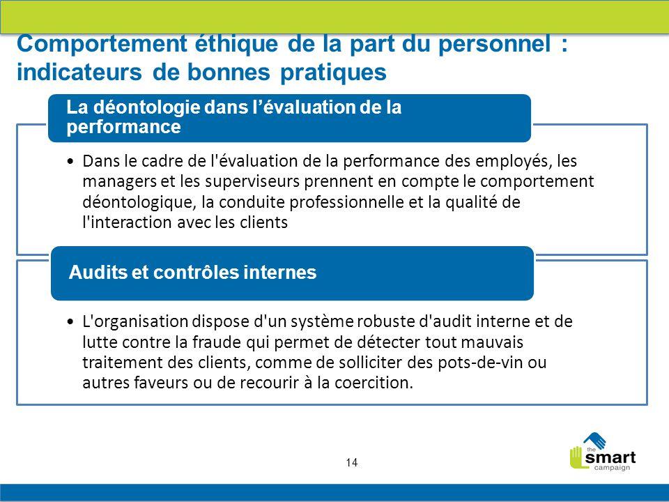 Comportement éthique de la part du personnel : indicateurs de bonnes pratiques