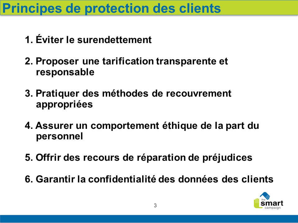 Principes de protection des clients