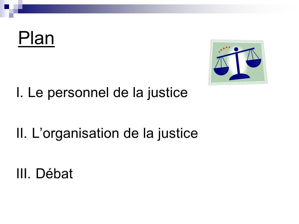 Plan I. Le personnel de la justice II. L'organisation de la justice