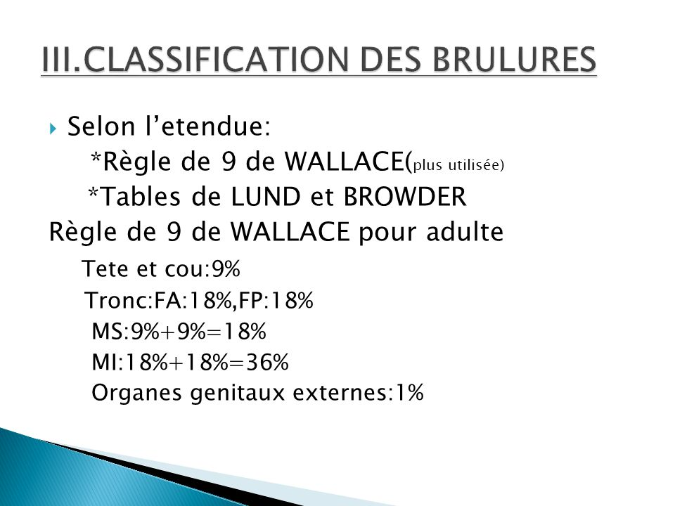 III.CLASSIFICATION DES BRULURES