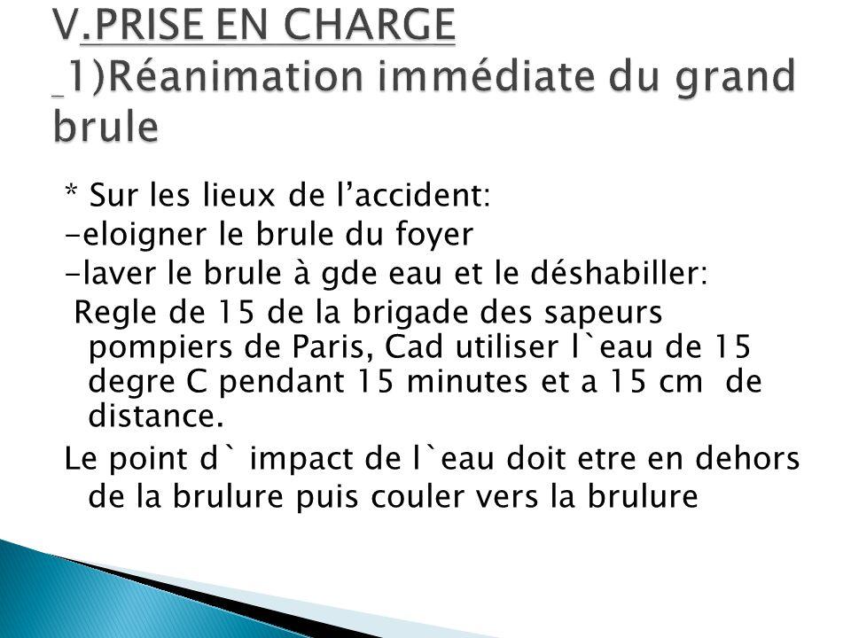 V.PRISE EN CHARGE 1)Réanimation immédiate du grand brule