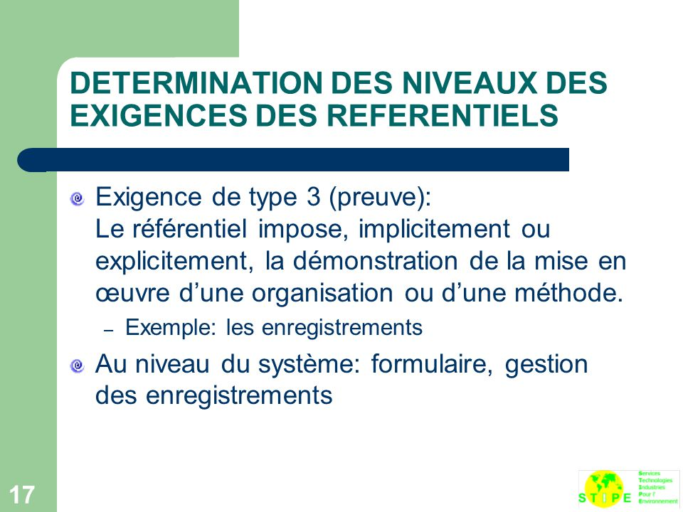 DETERMINATION DES NIVEAUX DES EXIGENCES DES REFERENTIELS