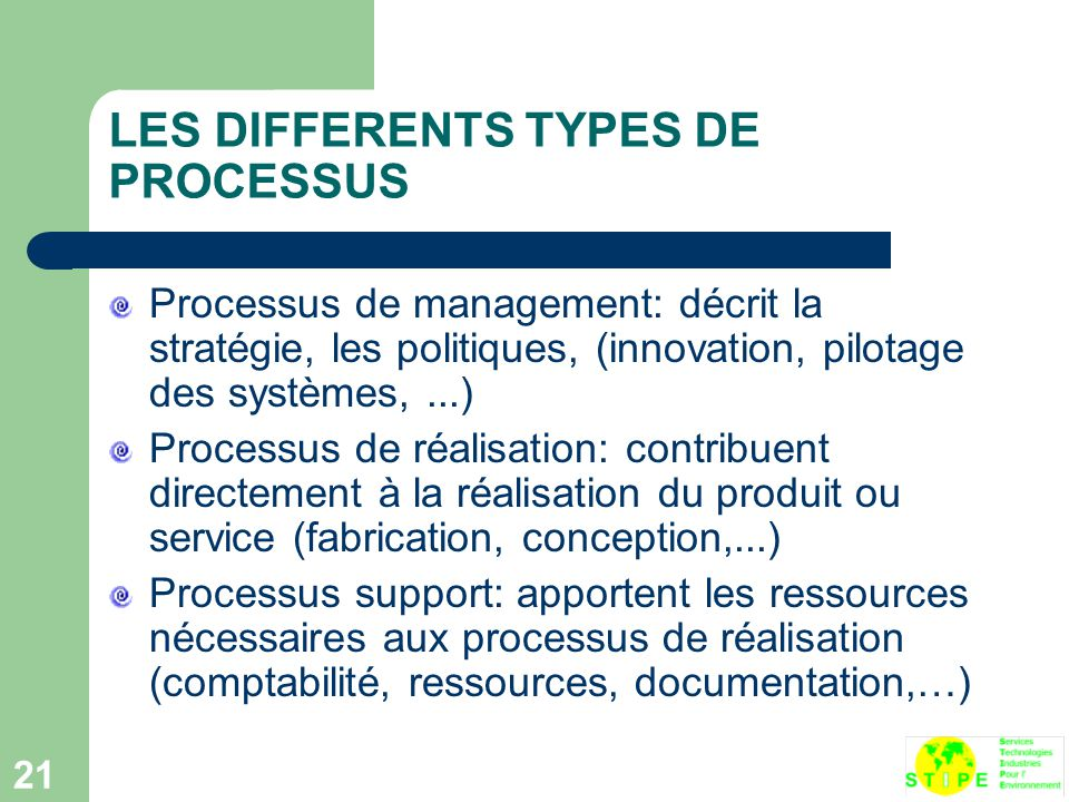 LES DIFFERENTS TYPES DE PROCESSUS