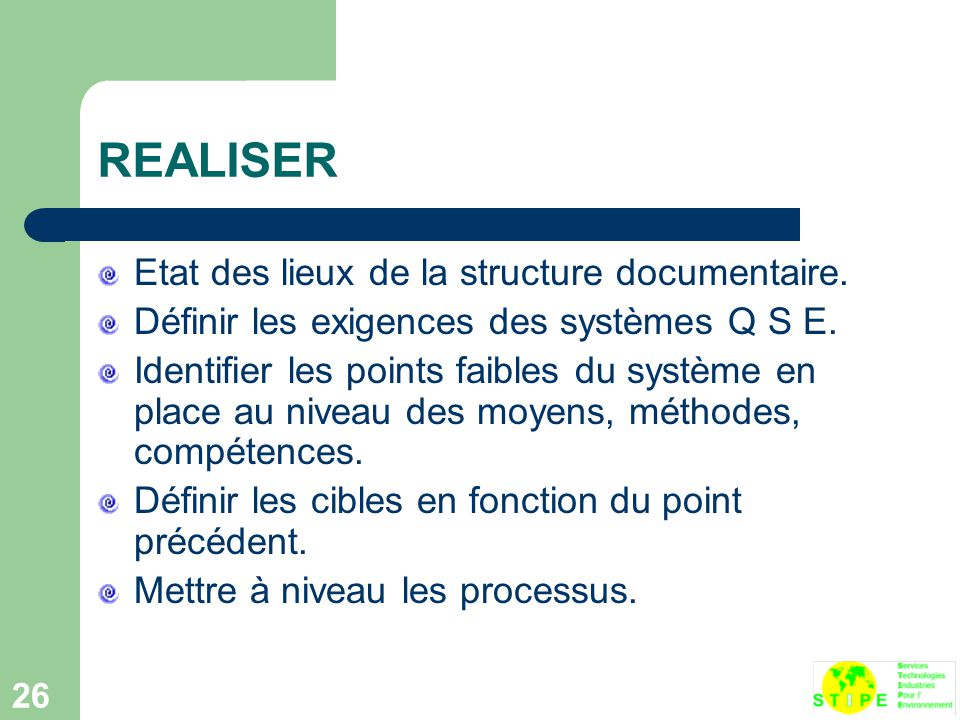 REALISER Etat des lieux de la structure documentaire.