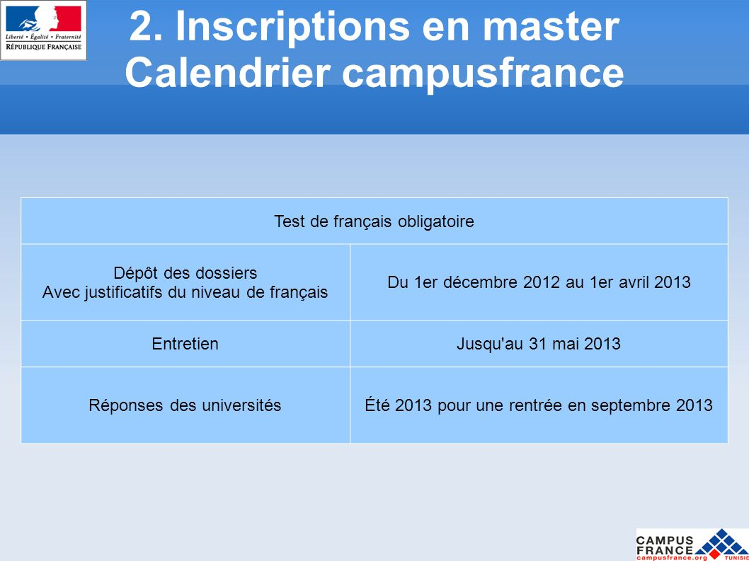 2. Inscriptions en master Calendrier campusfrance