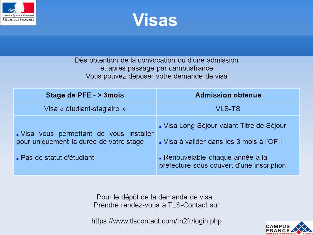 Visas Dès obtention de la convocation ou d une admission