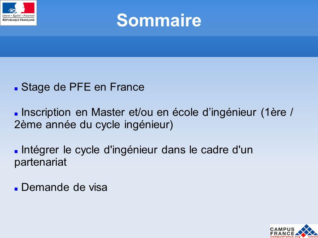 Sommaire Stage de PFE en France