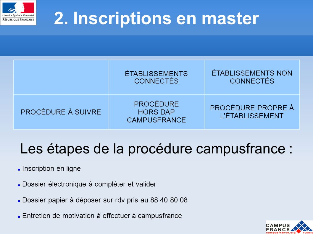 2. Inscriptions en master