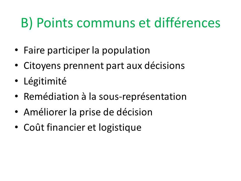 B) Points communs et différences