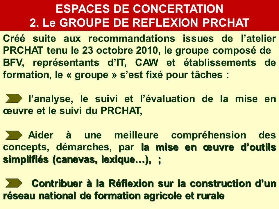 ESPACES DE CONCERTATION 2. Le GROUPE DE REFLEXION PRCHAT