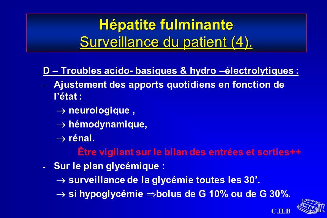 Hépatite fulminante Surveillance du patient (4).