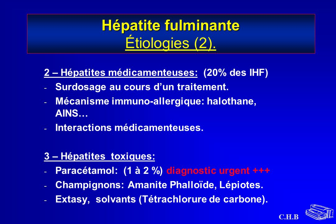 Hépatite fulminante Étiologies (2).