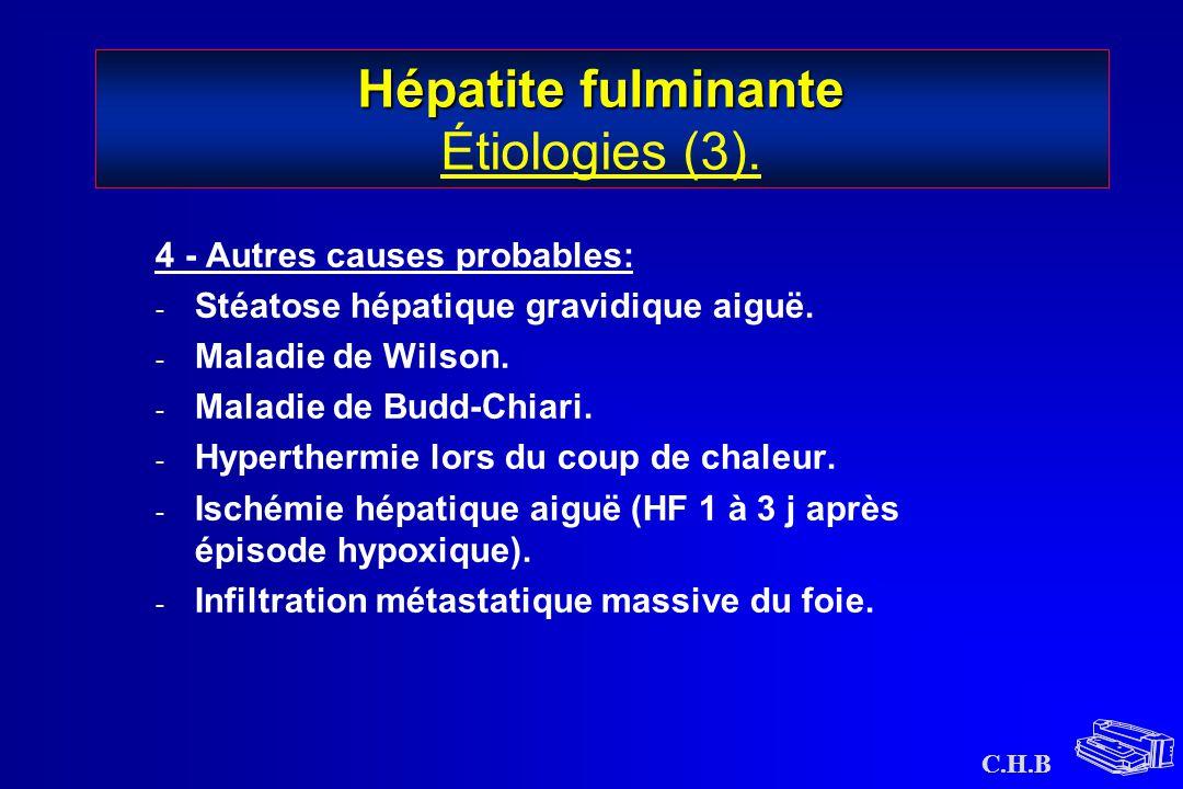 Hépatite fulminante Étiologies (3).