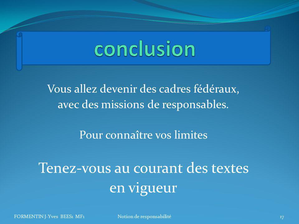 conclusion Tenez-vous au courant des textes en vigueur