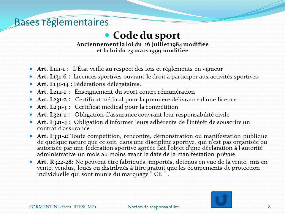 Bases réglementaires Code du sport