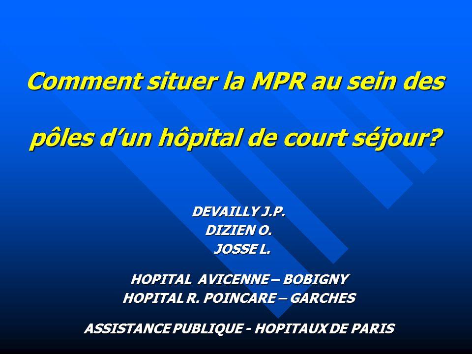 Comment situer la MPR au sein des pôles d'un hôpital de court séjour