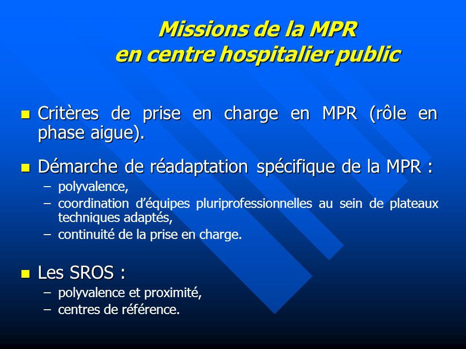 Missions de la MPR en centre hospitalier public