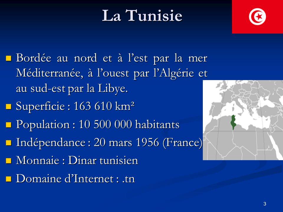 La Tunisie Bordée au nord et à l'est par la mer Méditerranée, à l'ouest par l'Algérie et au sud-est par la Libye.