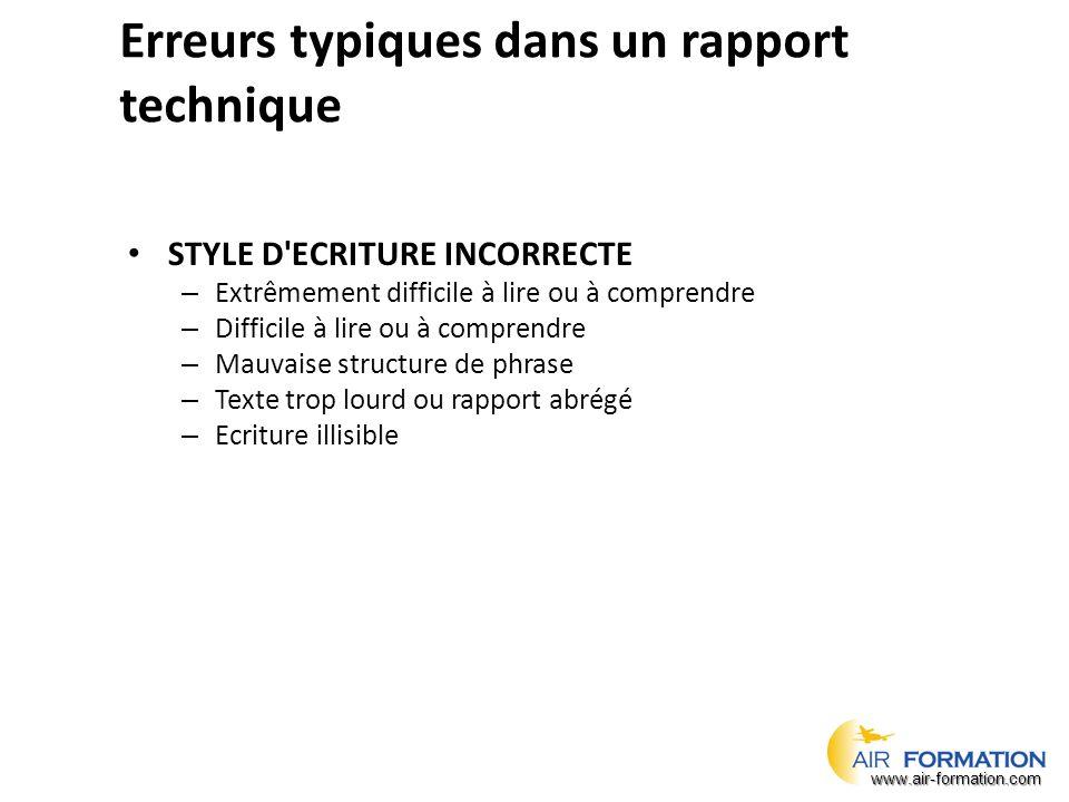 Erreurs typiques dans un rapport technique