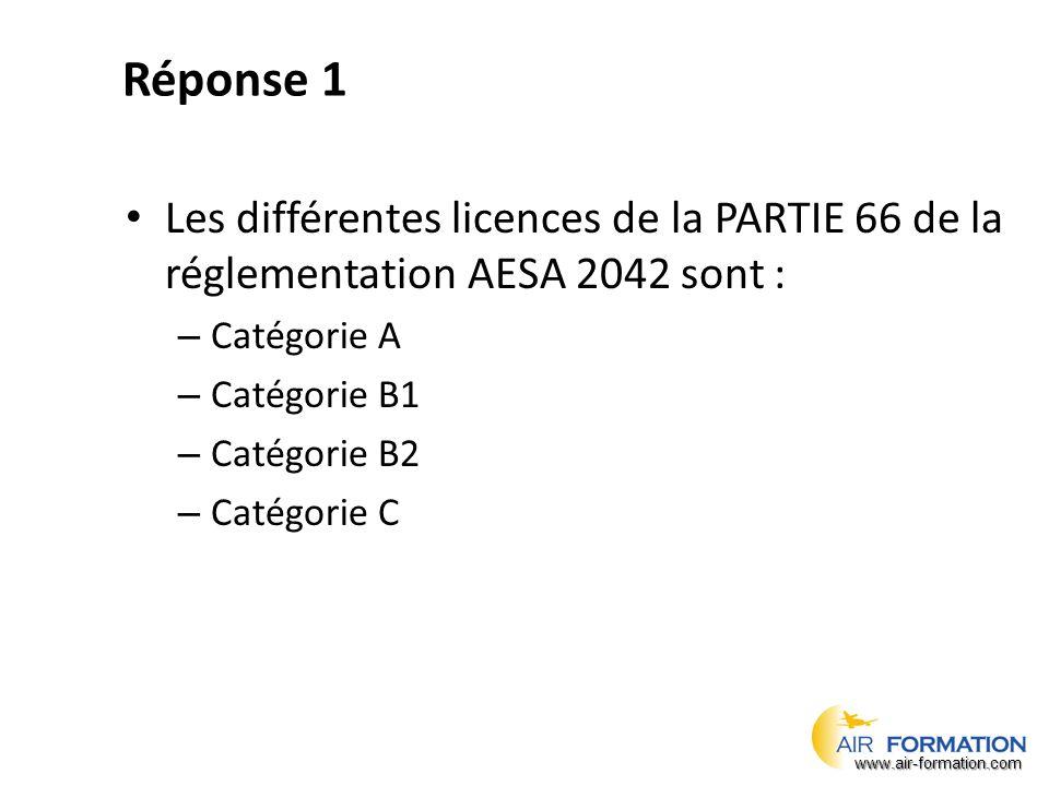 Réponse 1 Les différentes licences de la PARTIE 66 de la réglementation AESA 2042 sont : Catégorie A.