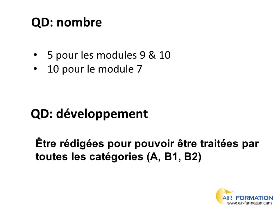 QD: nombre QD: développement 5 pour les modules 9 & 10